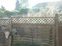 A fence steaming in the autumn sun